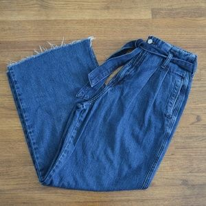 Forever 21 Wide Leg Jeans With Tie Waist